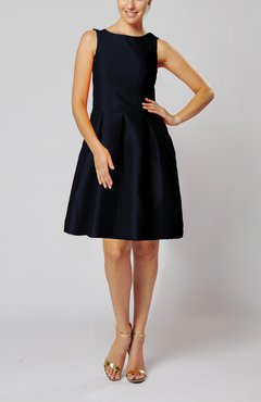 Black Bridesmaid Dress on Column Backless Silk Like Satin Knee Length Flower Bridesmaid Dresses