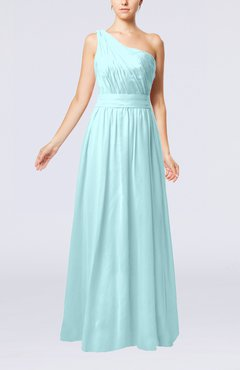 Aqua Modest Sleeveless Zipper Chiffon Floor Length Evening Dresses