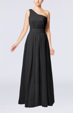 Black Modest Sleeveless Zipper Chiffon Floor Length Evening Dresses