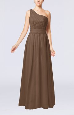 Brown Modest Sleeveless Zipper Chiffon Floor Length Evening Dresses