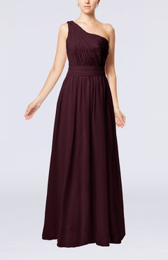 Burgundy Modest Sleeveless Zipper Chiffon Floor Length Evening Dresses