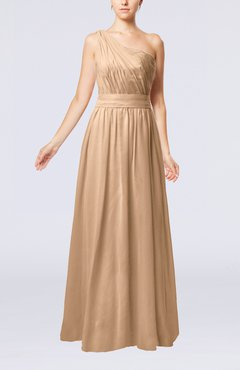 Burnt Orange Modest Sleeveless Zipper Chiffon Floor Length Evening Dresses
