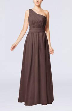 Chocolate Brown Modest Sleeveless Zipper Chiffon Floor Length Evening Dresses