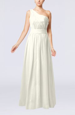 Cream Modest Sleeveless Zipper Chiffon Floor Length Evening Dresses