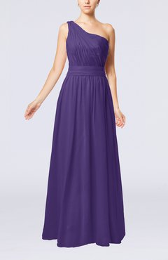 Dark Purple Modest Sleeveless Zipper Chiffon Floor Length Evening Dresses
