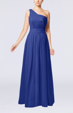 Electric Blue Modest Sleeveless Zipper Chiffon Floor Length Evening Dresses