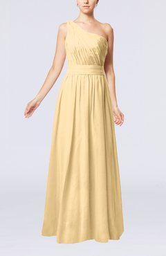 Gold Modest Sleeveless Zipper Chiffon Floor Length Evening Dresses
