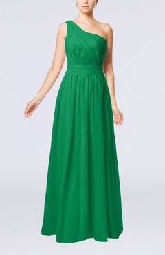 Green Modest Sleeveless Zipper Chiffon Floor Length Evening Dresses