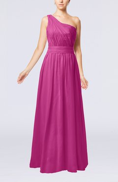 Hot Pink Modest Sleeveless Zipper Chiffon Floor Length Evening Dresses