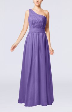 Lilac Modest Sleeveless Zipper Chiffon Floor Length Evening Dresses