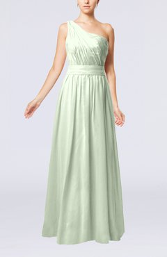 Pale Green Modest Sleeveless Zipper Chiffon Floor Length Evening Dresses