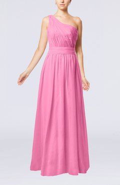 Pink Modest Sleeveless Zipper Chiffon Floor Length Evening Dresses