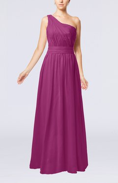 Raspberry Modest Sleeveless Zipper Chiffon Floor Length Evening Dresses