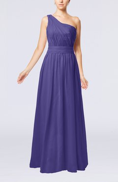 Royal Purple Modest Sleeveless Zipper Chiffon Floor Length Evening Dresses
