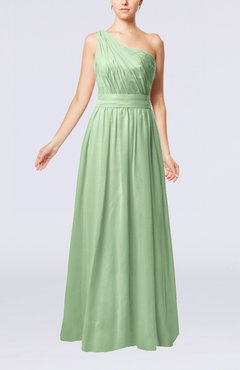 Sage Green Modest Sleeveless Zipper Chiffon Floor Length Evening Dresses