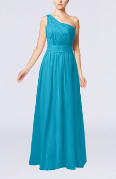 Teal Modest Sleeveless Zipper Chiffon Floor Length Evening Dresses
