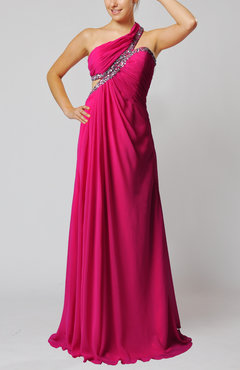 Hot Pink Elegant Sheath One Shoulder Sleeveless Backless Beaded Evening Dresses