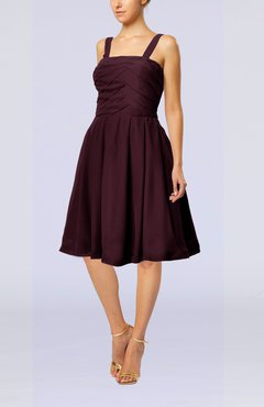 Burgundy Modest A-line Thick Straps Sleeveless Knee Length Little Black Dresses