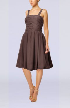 Chocolate Brown Modest A-line Thick Straps Sleeveless Knee Length Little Black Dresses