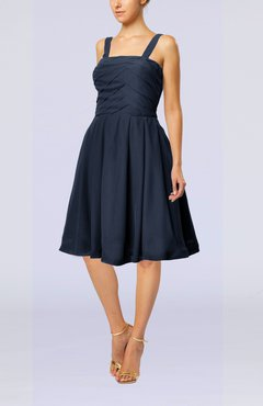 Navy Blue Modest A-line Thick Straps Sleeveless Knee Length Little Black Dresses