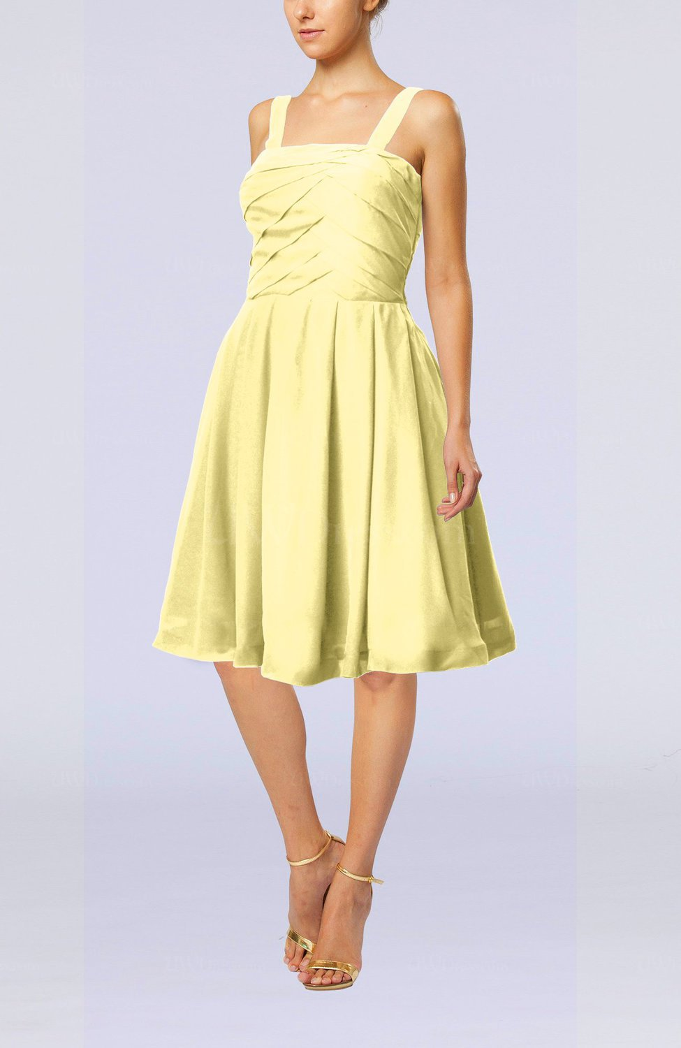 Pastel Yellow Modest A-line Thick Straps Sleeveless Knee Length Little Black Dresses - UWDress.com