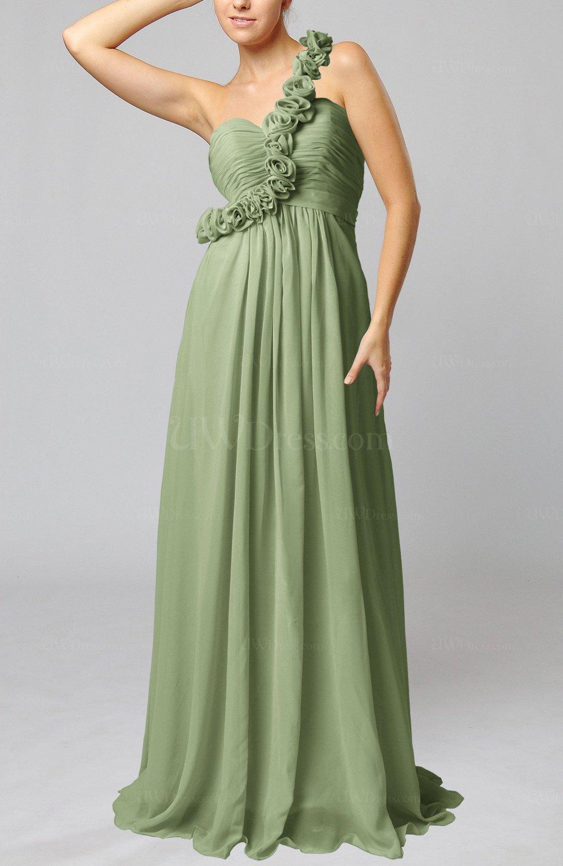 Moss Green Romantic Column One Shoulder Sleeveless Ruching Evening ...