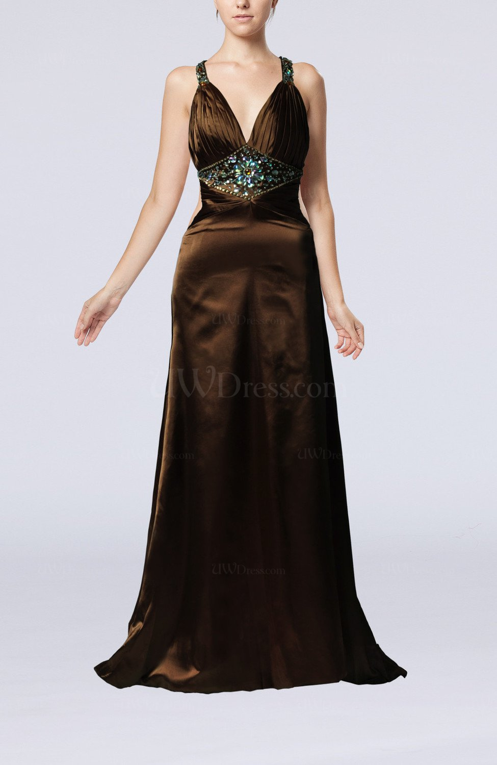 Chocolate brown elegant sleeveless backless court train for Brown dresses for wedding guest