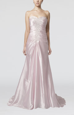 Blush Romantic Sweetheart Sleeveless Zipper Elastic Woven Satin Prom Dresses