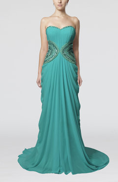 Teal Elegant Sleeveless Zipper Chiffon Court Train Draped Wedding Guest Dresses