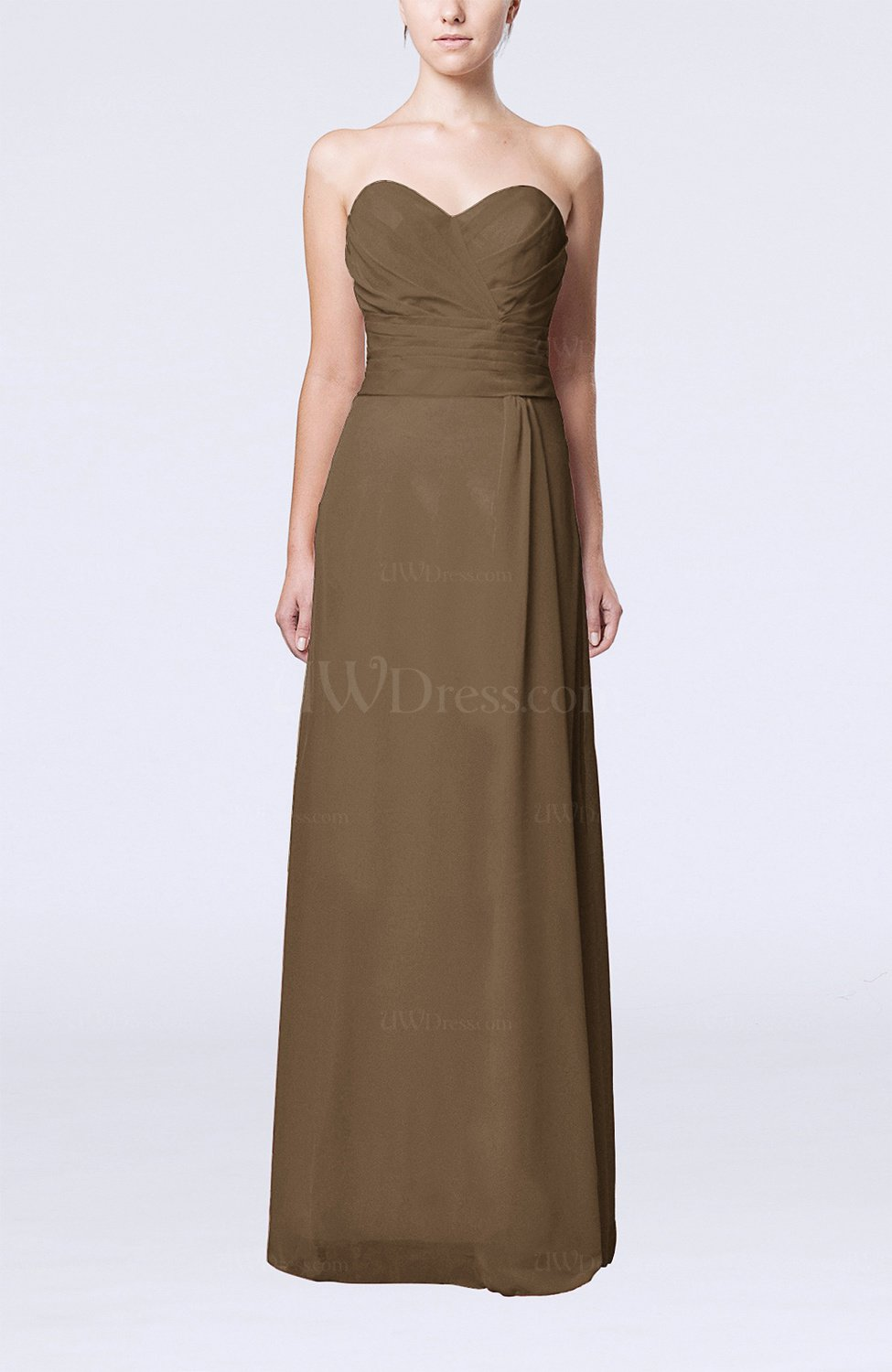 Brown elegant column sweetheart sleeveless draped wedding for Brown dresses for wedding guest