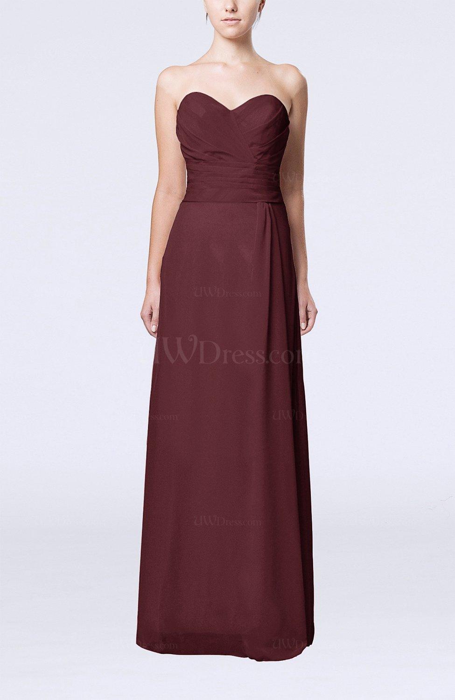 Burgundy elegant column sweetheart sleeveless draped for Burgundy dress for wedding guest