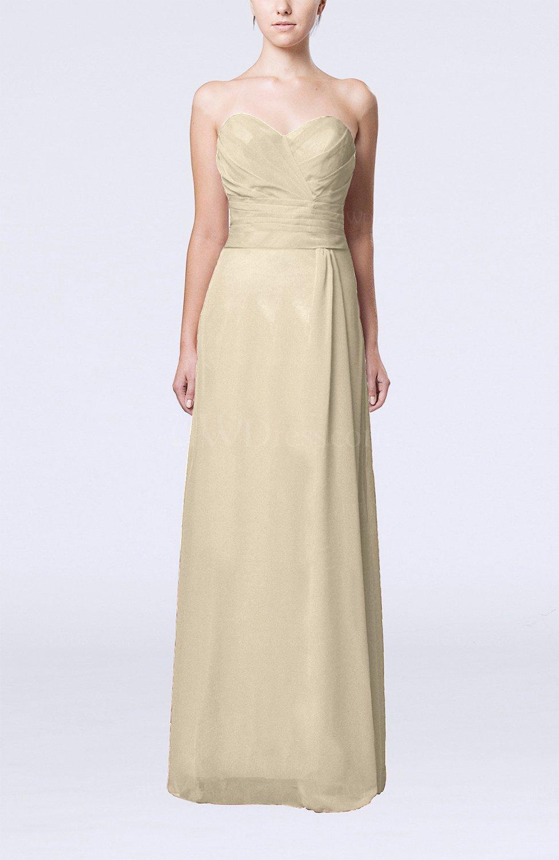Champagne elegant column sweetheart sleeveless draped for Elegant guest wedding dresses