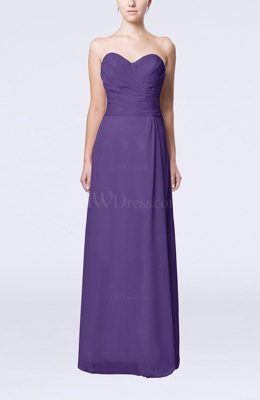 Dark purple elegant column sweetheart sleeveless draped for Purple dresses for wedding guests