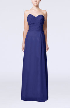 Electric Blue Elegant Column Sweetheart Sleeveless Draped Wedding Guest Dresses