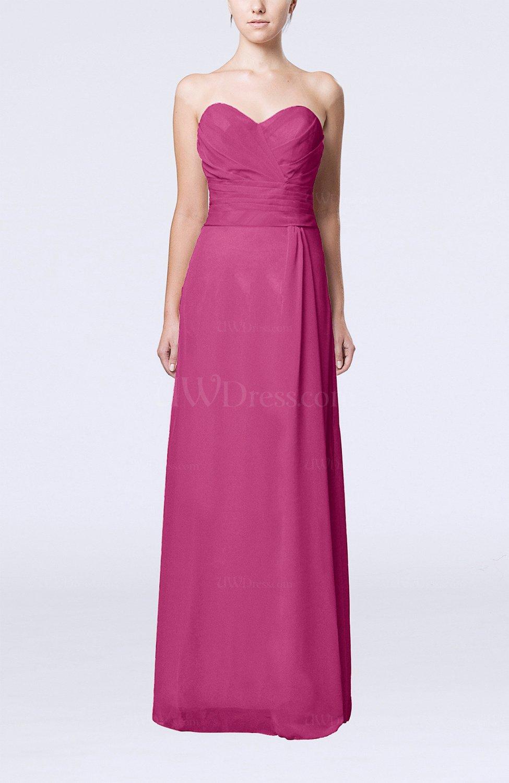 Hot pink elegant column sweetheart sleeveless draped for Elegant dress for wedding guest