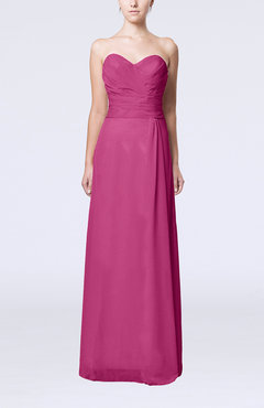 Hot Pink Elegant Column Sweetheart Sleeveless Draped Wedding Guest Dresses