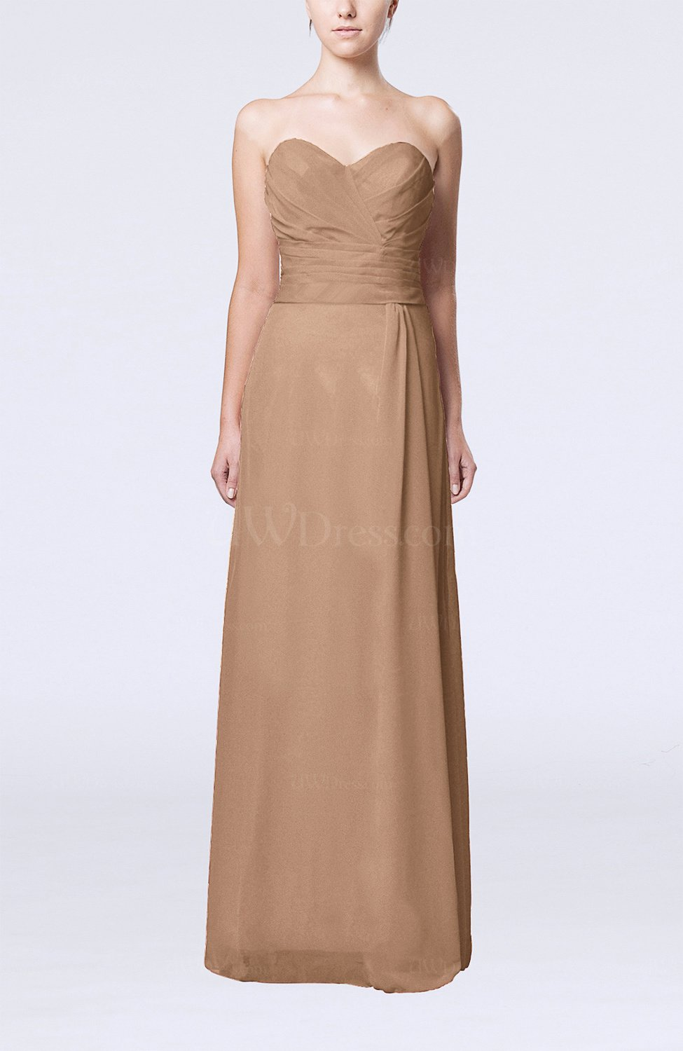 Light brown elegant column sweetheart sleeveless draped for Brown dresses for wedding guest