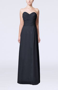 Navy Blue Elegant Column Sweetheart Sleeveless Draped Wedding Guest Dresses