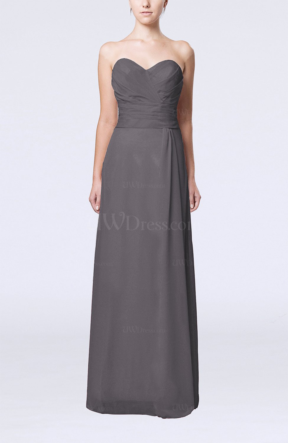 Ridge Grey Elegant Column Sweetheart Sleeveless Draped