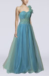 Romantic One Shoulder Sleeveless Floor Length Flower Prom Dresses