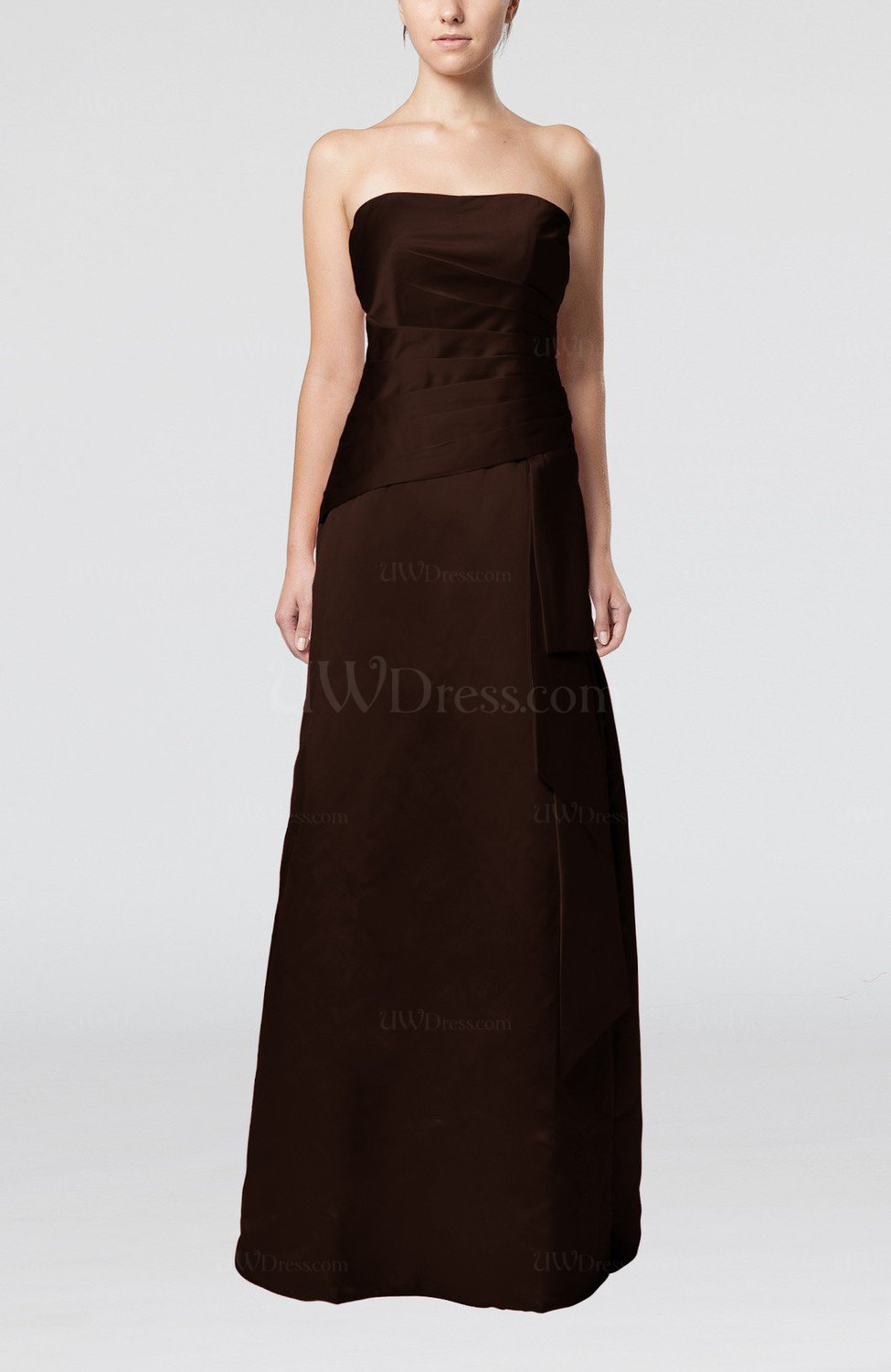 Chocolate brown elegant sheath sleeveless backless satin for Backless wedding guest dresses