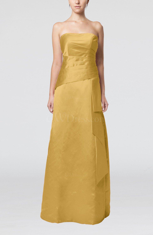 Gold Elegant Sheath Sleeveless Backless Satin Ruching Wedding Guest Dresses