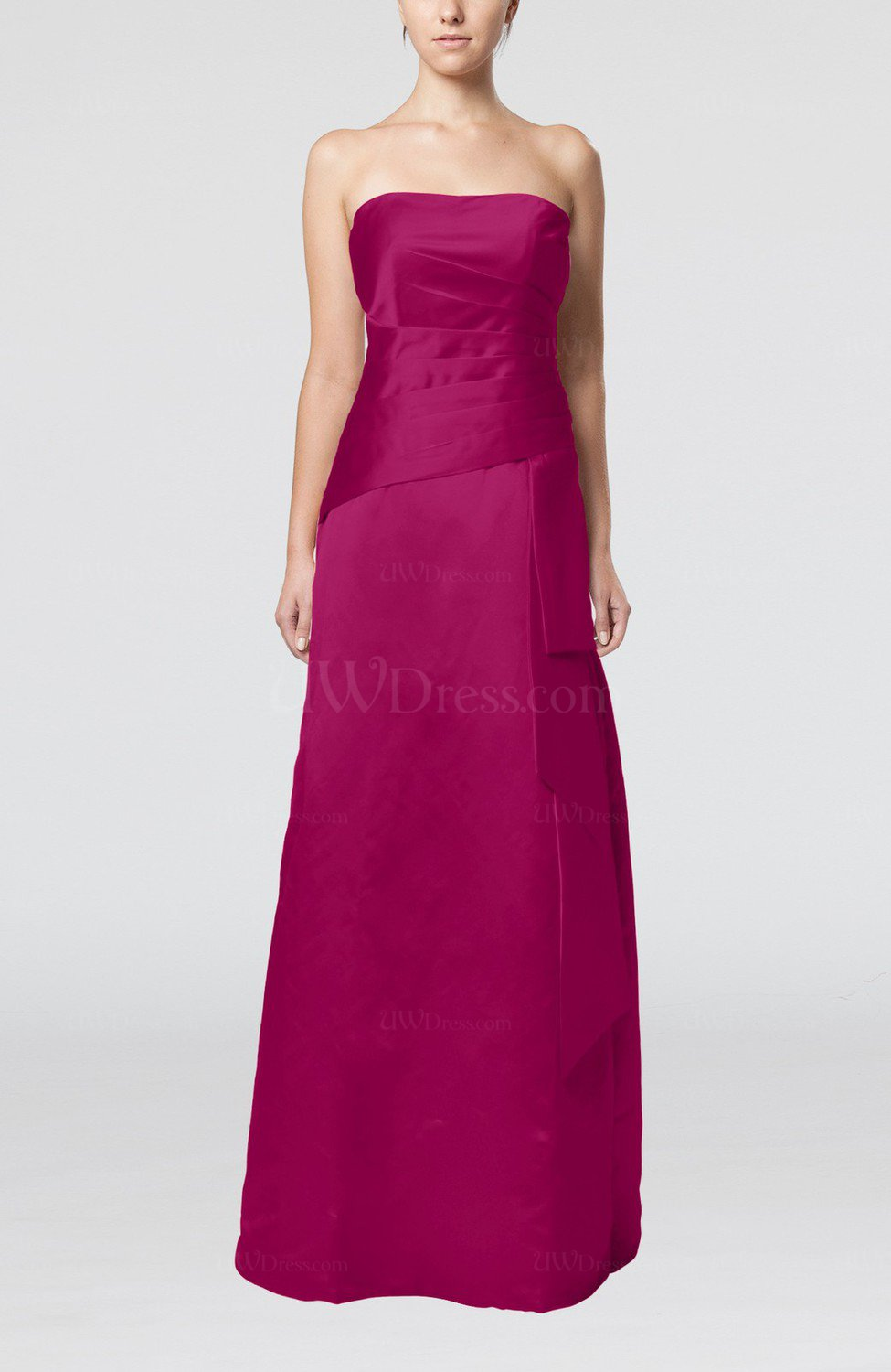 Raspberry elegant sheath sleeveless backless satin ruching for Backless wedding guest dresses