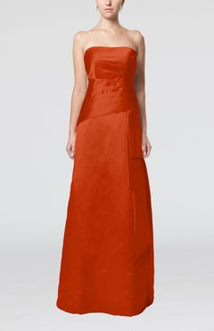 Rust Elegant Sheath Sleeveless Backless Satin Ruching Wedding Guest Dresses