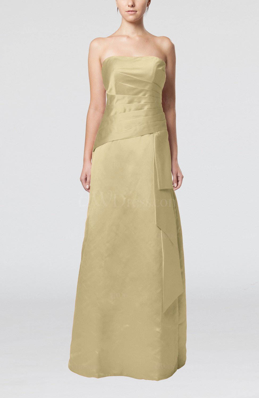 Tan elegant sheath sleeveless backless satin ruching for Elegant guest wedding dresses