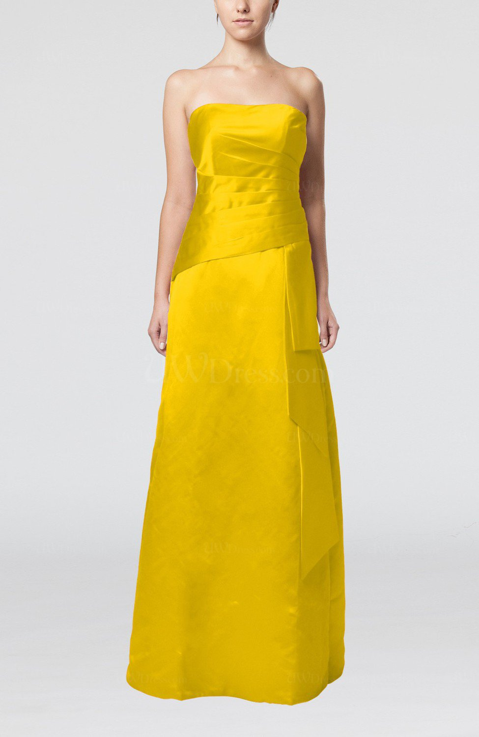 Yellow elegant sheath sleeveless backless satin ruching for Yellow dresses for wedding guests