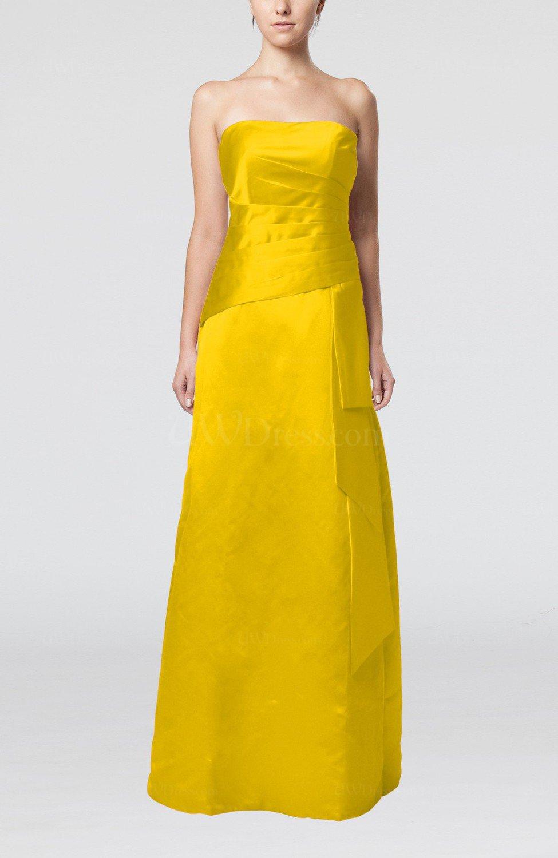 Yellow elegant sheath sleeveless backless satin ruching for Yellow wedding guest dress