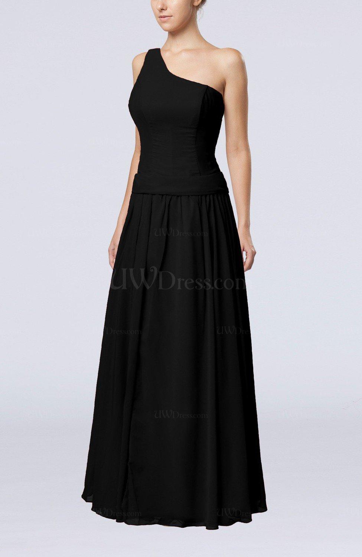 Black elegant sheath zipper chiffon floor length wedding for Elegant guest wedding dresses