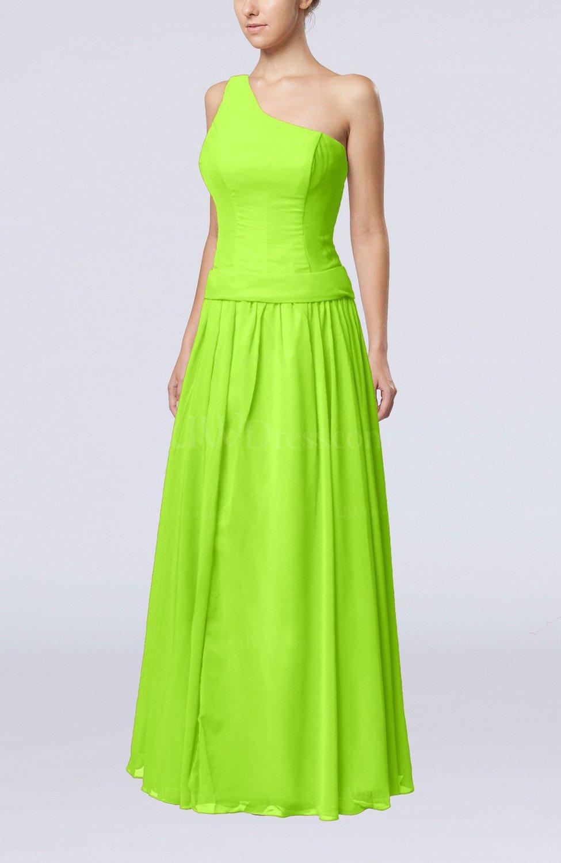 Bright green elegant sheath zipper chiffon floor length for Elegant guest wedding dresses