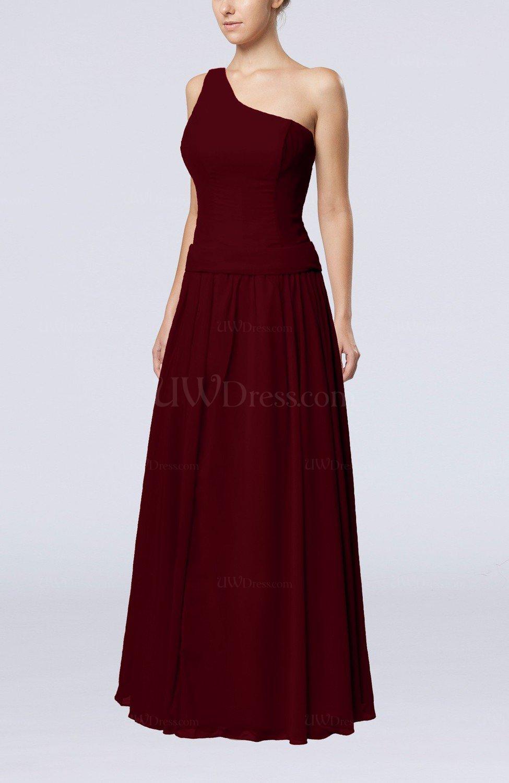 Burgundy elegant sheath zipper chiffon floor length for Burgundy dress for wedding guest